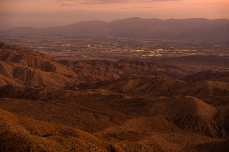Indio and Coachella City in the Coachella Valley, California, United States. Sunset Panorama.
