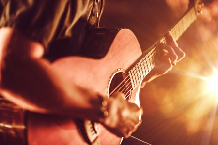 Photo for Acoustic Guitar Playing. Men Playing Acoustic Guitar Closeup Photography. - Royalty Free Image