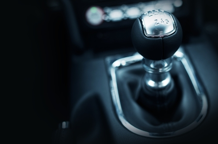 Six Speed Stick Shift Car Transmission. Stick Shift Driving. Modern Car Interior.