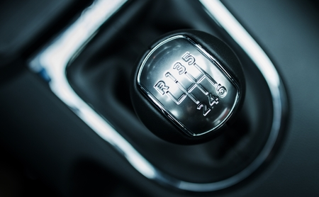 Manual 6-Speed Transmission Shifter. Modern Car Shifter.