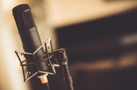 Professional Tube Microphone in the Recording Studio. Microphone Closeup.