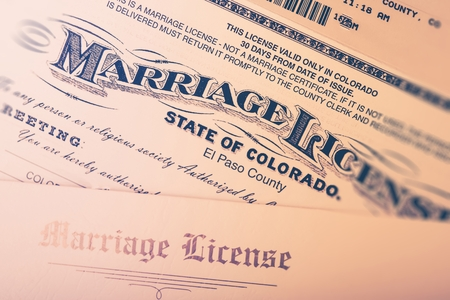 Marriage License Issued in Colorado State, United States. Marriage or Divorce Concept. Marriage License Document Closeup.