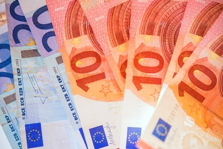 Euro Bills. European Union Currency. Banking Theme.