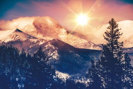 Foto de Colorado Mountains Vista in Abstract Color Grading. Rocky Mountain. - Imagen libre de derechos