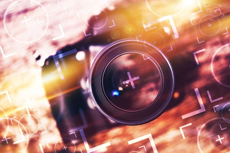 Photography Camera Lens Glass Closeup. Modern Camera on the Old Wooden Table with Concept Photo Elements. Photography Concept.