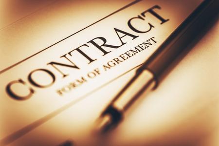 Photo pour Contract Signing Concept Photo. Contract Agreement and Fountain Pen Closeup. Sepia Color Grading. - image libre de droit