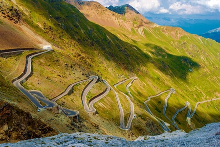 Scenic Stelvio Pass. Italian Mountain Pass Road Scenery.