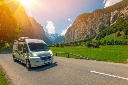 Class B Camper Van in European Jungfrau Region in Switzerland. Traveling in Camper Van. RVing in Europe.
