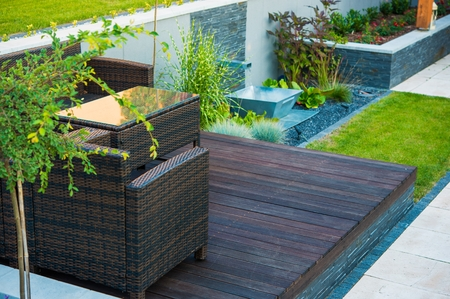 Modern Garden Design. Wood and Stone. Gardening Theme.