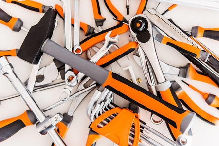 Photo for Pile of Garage Tools. Tools Set. Working Concept - Royalty Free Image