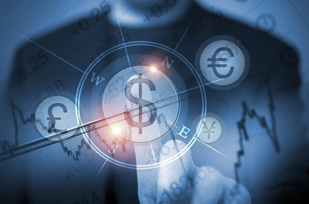 Abstract Concept of Men Trading Currency Using Touch Screen Features. Global Currency Trader Concept. Choosing US Dollars. Trading Decision.