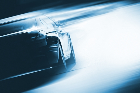 Photo for Speeding Car Background Photo Concept. Vehicle on a Road. Motorsport Backdrop Concept with Copy Space. - Royalty Free Image
