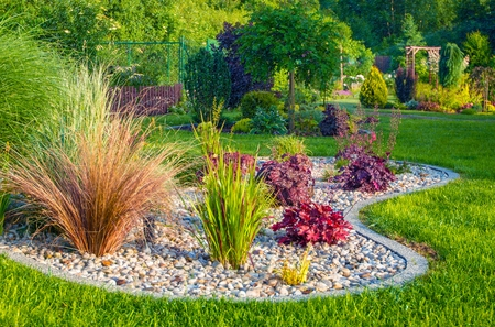Photo pour Small Residential Garden Landscape Design. Gardening Theme. - image libre de droit