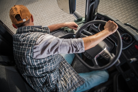 Photo pour Learning Truck Driving CDL. Commercial Driving License School. - image libre de droit