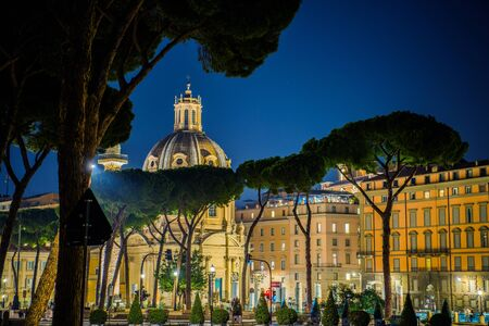 Foto per Rome Italy at Night. Stone Pines and Church of the Most Holy Name of Mary. Scenic Italian Architecture. - Immagine Royalty Free