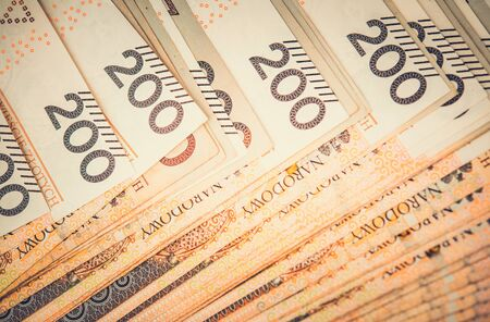 Photo pour Close Up Of Paper Polish Currency In 200 Zloty Denomination.  - image libre de droit