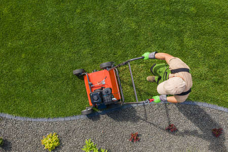 Photo pour Backyard Garden Lawn Aeration Job Aerial View For Controlling Lawn Thatch and Soil Compaction. Gardening and Landscaping Industry Theme. - image libre de droit