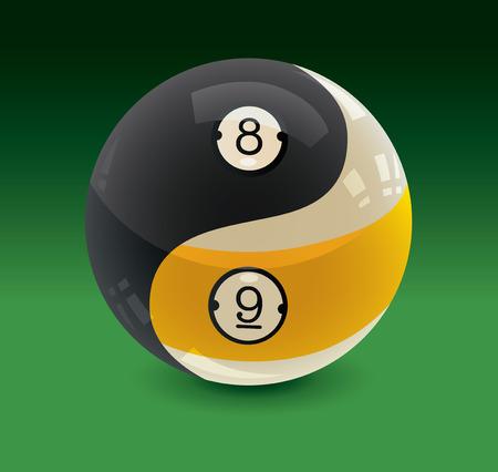 Illustration pour Eight Ball and Nine Ball Yin Yang - image libre de droit