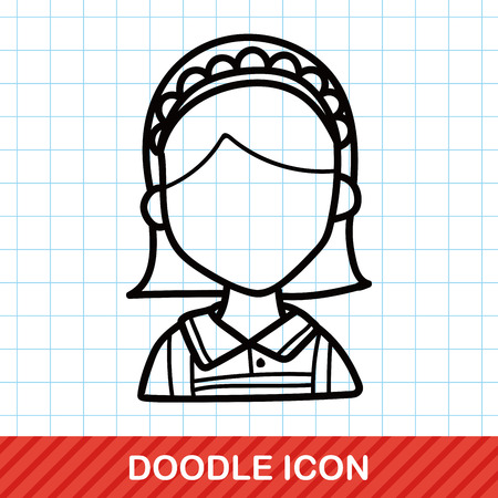 waitress doodle: Royalty-free vector graphics