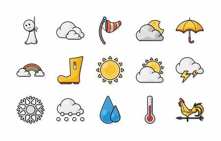Illustration for Weather icons set - Royalty Free Image