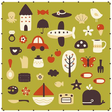Ilustración de vector cute elements - Imagen libre de derechos