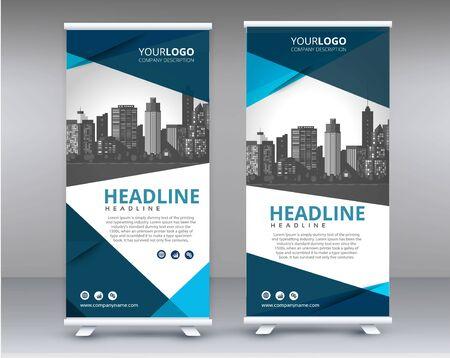 Foto für Modern Exhibition Advertising Trend Business Roll Up Banner Stand Poster Brochure flat design template creative concept. Presentation. Cover Publication. Stock vector. EPS - Vec - Lizenzfreies Bild