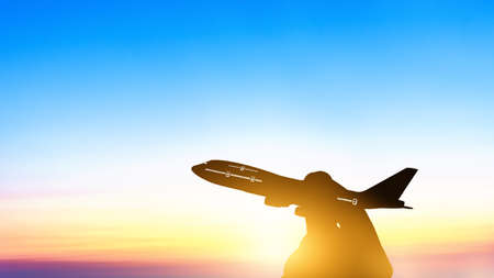 Photo pour Silhouette of young asian holding miniature toy airplane flying on cloud blue sky at sunset background. Travel and trip at summer by airplane with copy space - image libre de droit