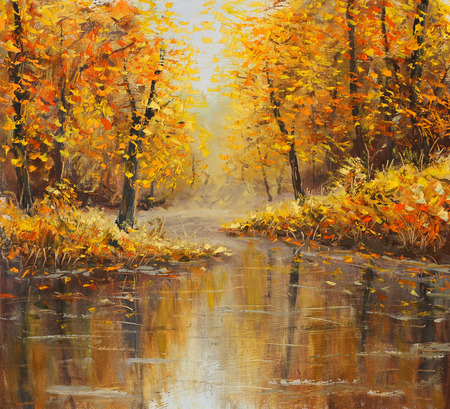 Foto de Golden autumn in river. Yellow oil painting. Art. - Imagen libre de derechos