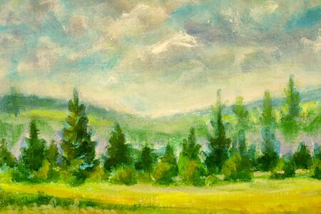 Photo pour beautiful countryside illustration with green trees in warm summer landscape -  rural impressionism plein air painting field painting - image libre de droit