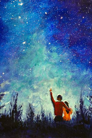 Photo for Vertical Painting coupl night love Oil acrylic Watercolor Painting - Young love couple in night landscape. staring at Milky Way galaxy in romantic night - Royalty Free Image