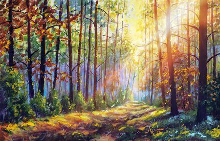Photo pour Original oil painting gorgeous forest in autumn, scenic landscape with pleasant warm sunshine fine art - image libre de droit