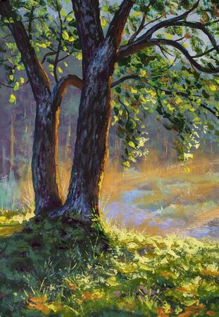 Foto de Big trees on sun russian morning on river landscape fine art hand painted acrylic painting expressionism artwork nature - Imagen libre de derechos