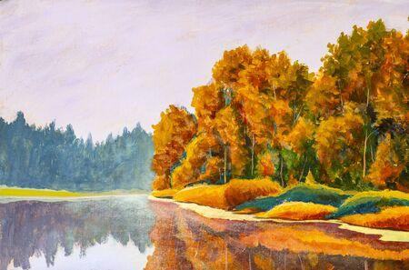 Photo pour Original on painting on canvas by artist Autumn on river. Russian sea landscape nature fine art - image libre de droit