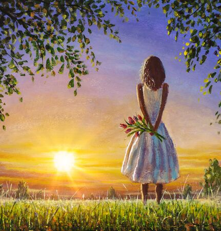 Foto de Concept of female loneliness. Acrylic painting lonely girl with bouquet of wildflowers looks into distance at sunset dawn of sun. Emotion of loneliness and expectation. - Imagen libre de derechos