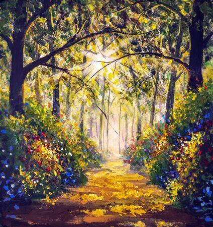 Photo pour Sunny forest wood trees Original oil painting. Road in sun summer flowers park alley impressionism fine art hand painted landscape paintings artwork - image libre de droit