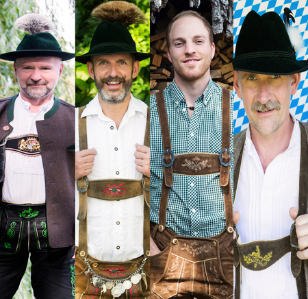 variation of men wearing traditional bavarian clothes