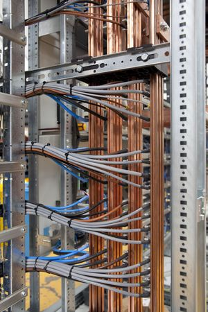 Wires and cooper in electrical panel board