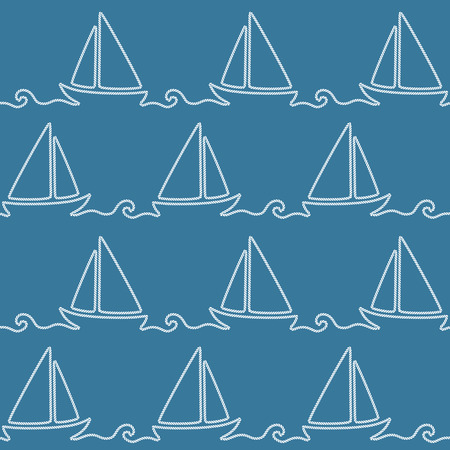 Seamless nautical rope pattern with boat