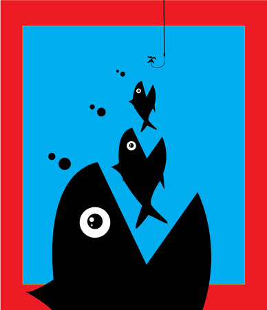 Little Fish Eat Big Fish. Unity, Teamwork, Mergers, Acquisitions, Partnerships Concept