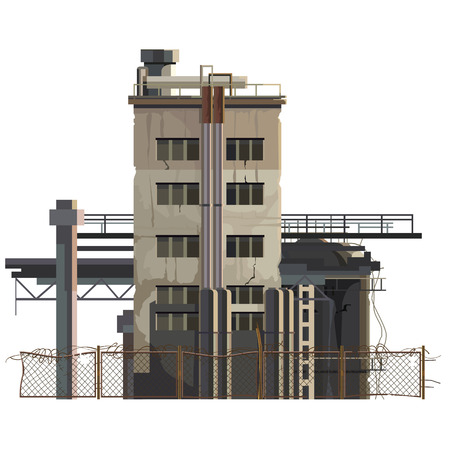 Illustration pour painted building in an industrial area with extensions and with a fence - image libre de droit