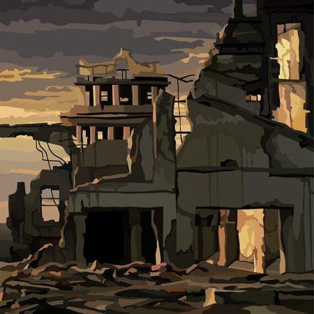 Illustration pour ruins of destroyed houses in the city in the light of a gloomy sunset - image libre de droit