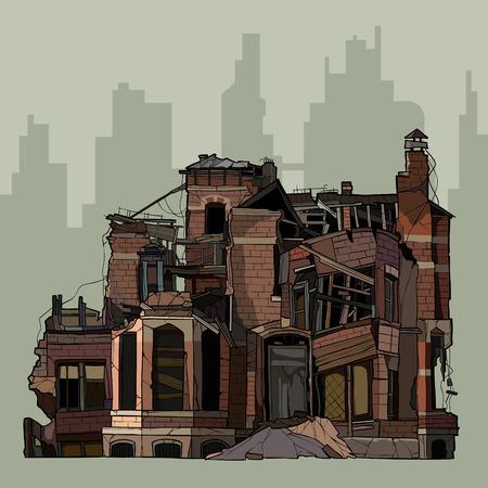 Illustration pour painted ruins of two story brick mansion - image libre de droit