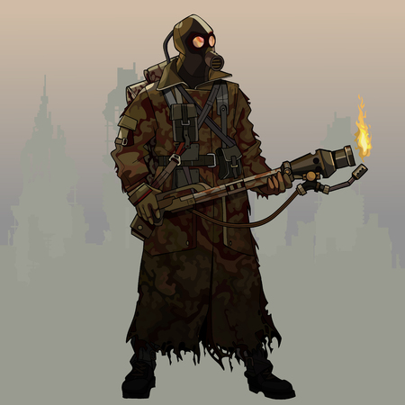 Illustration pour cartoon armed with flamethrower man in gas mask and post apocalypse clothes - image libre de droit