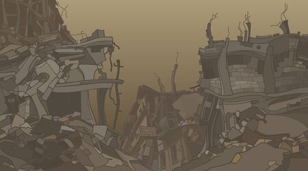 Illustration pour gloomy cartoon ruins of crooked ruined houses in dusty fog - image libre de droit