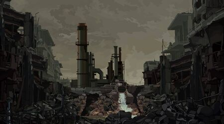 Illustration pour Painted background ruins of an industrial plant. Vector image - image libre de droit