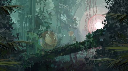 Illustration pour Dense green overgrown rainforest with a bright source of light. Vector image - image libre de droit