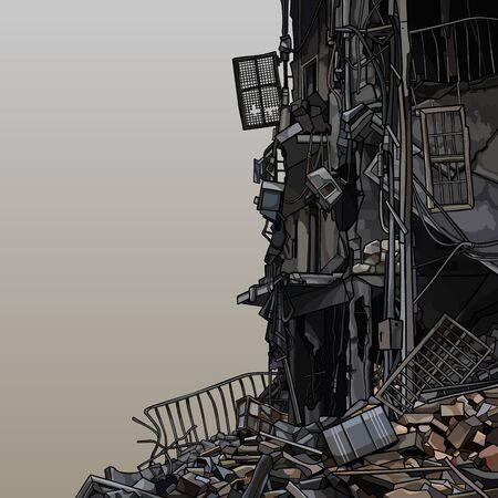 Illustration pour Part of the ruins of a destroyed building. Vector image - image libre de droit
