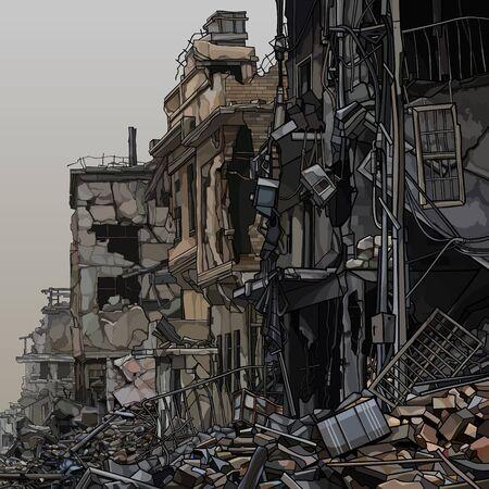 Illustration pour Ruins of destroyed city buildings with trash below. Vector image - image libre de droit