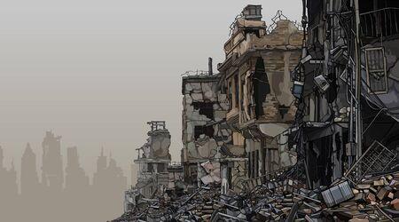 Illustration pour Urban background ruins of ruined buildings with trash below. Vector image - image libre de droit