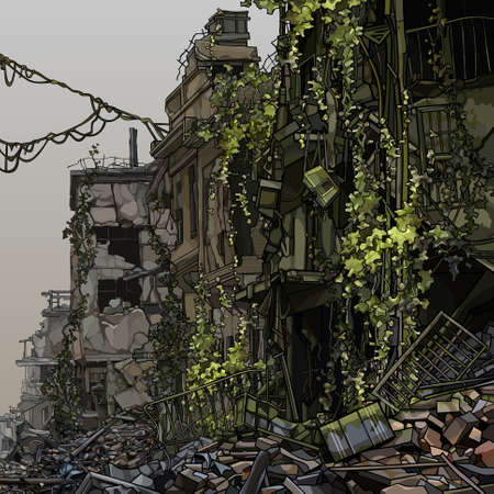 Illustration pour Old cartoony ruins of three story houses overgrown with green plants. Vector image - image libre de droit